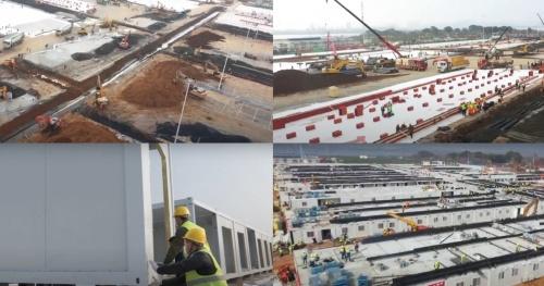雷神山医院の建設過程。2020年1月25日に建設に着手し、同年2月8日には患者の受け入れを開始した。設計者は中南建築設計院、施工者は中国建築第三工程局(写真:ダッソー・システムズ)