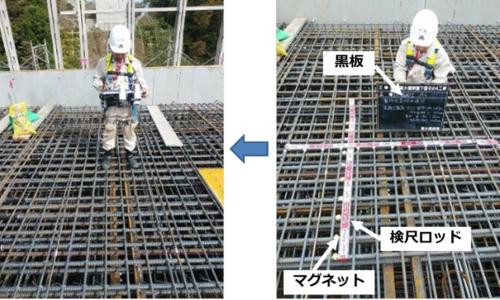 3眼カメラ配筋検査システム(左の写真)と従来の検査の様子(右の写真)の比較(資料:清水建設)
