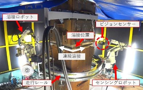 多関節型の現場溶接ロボットの概要。円形のレールにロボットアームを組み込んだ。溶接ロボットとセンシングロボット(開発中)で構成される。レーザーと画像によって開先形状をリアルタイムで計測し、溶接の層数やパス数、速度などを自動で補正しながら自律的に溶接できる機能も開発を進めている(写真:鹿島)