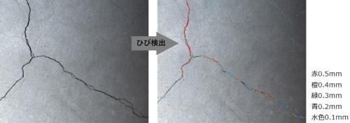 検査ロボットが撮影した床面の画像をAI(人工知能)で解析してひび割れを検出する。幅0.1mm以上のひび割れを0.1mm単位で検出する(資料:安藤ハザマ)