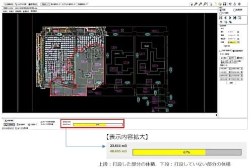 打設状況を撮影した画像と躯体図を重ね合わせて、打設した部分の体積を自動計算するプログラムの画面。赤い線で囲まれた部分がコンクリートの打設が済んでいると認識した範囲(資料:西松建設)