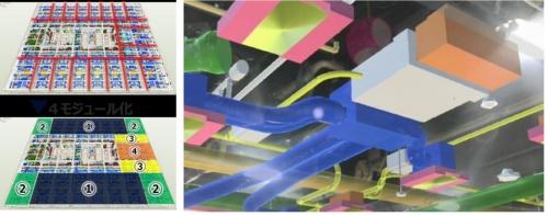 BIMデータの活用例。企画・設計フェーズでは、ビル風や気流のシミュレーションのほか、設備のモジュール化などを検討した(左)。施工フェーズではFM(ファシリティーマネジメント)との連携を考慮して、BIMとMR(複合現実)の連携も取り入れた。BIMの属性情報に2次元の図面データや品番など点検や更新時に必要となるデータを組み込んでいる(資料:2点とも鹿島)