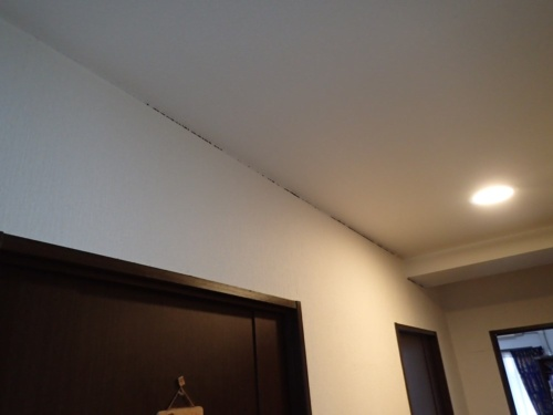 建物の傾斜に伴い、住戸内の間仕切り壁と天井に隙間が生じていた(写真:日本建築検査研究所)
