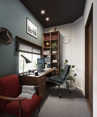 大和ハウス工業が2つの住宅提案を発表。写真は、「快適ワークプレイス」のイメージ。写真右奥の角に、室内音響を調整する「コーナーチューン」を設置する(写真:大和ハウス工業)