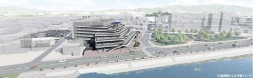 建設を予定している松江市新庁舎の完成予想図(資料:松江市)