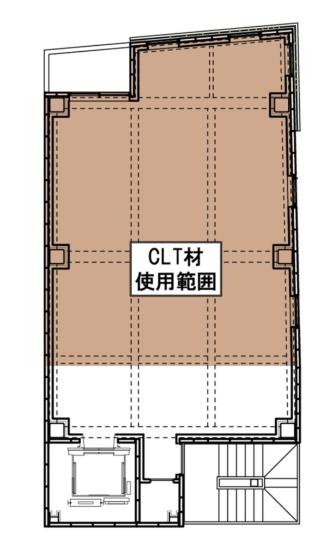 基準階(3~8階)の床で、茶色の部分がCLT材使用範囲。1フロア当たり55.68m2のCLTを使用した(資料:三菱地所設計、久保工)