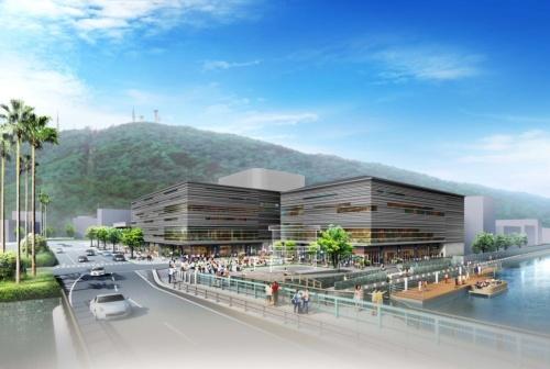 新町西地区第一種市街地再開発事業で計画している新ホールの完成イメージ。地上4階の小ホールと地下1階・地上5階の大ホールを建設する計画だった(資料:徳島市)