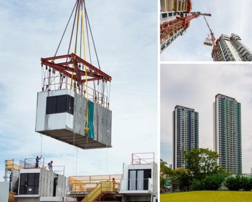 シンガポールで2019年に完成したモジュール建築「クレメント・キャノピー」。左と右上は建設の様子。1個当たり26~31トンのモジュールを正確に積んだ。下は完成後の外観(写真:Bouygues)