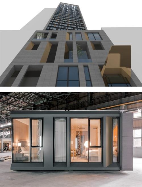 上は米マリオット・インターナショナルがニューヨーク市内で建設中の「AC Hotel New York NoMad」の完成イメージ。下はこのホテルの客室モジュール。ポーランドの工場で製造した(資料・写真:Danny Forster&Architecture)
