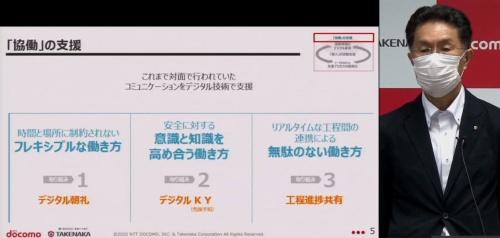 竹中工務店技術本部副本部長の菅田昌宏氏は、建設現場における働き方改革の課題を4つ挙げた。写真では3つまで紹介(写真:日経クロステック)