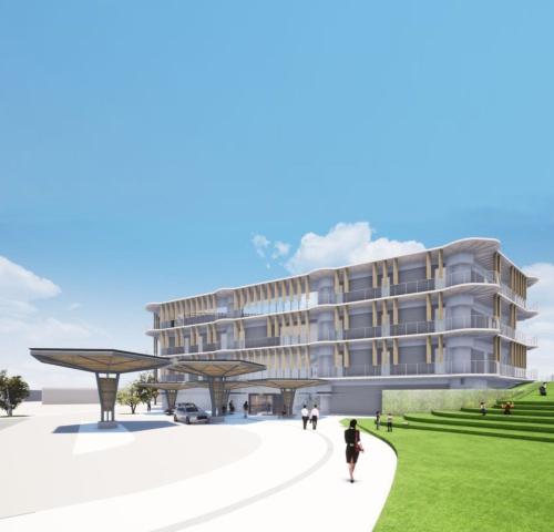 建設予定だった垂水市新庁舎の完成イメージ。新庁舎は延べ面積約5900m2で、免震構造を採用。鉄筋コンクリート造・一部鉄骨造、地上4階建ての計画で、2020年9月には造成工事に着手する予定だった。設計は宇住庵設計・NKSアーキテクツ・大隅家守舎設計業務共同企業体(資料:垂水市)