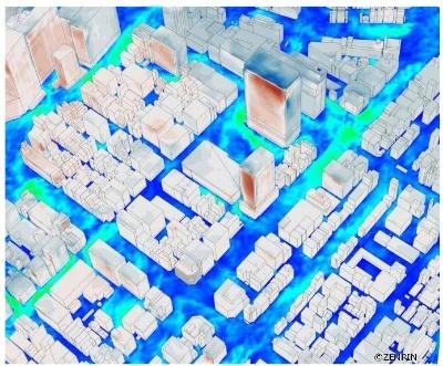 Kazamidoriのシミュレーション。風の流れや風の力の変化をアニメーションで可視化した。市街地のモデル化にはゼンリンの3D地図を使用している(資料:竹中工務店)