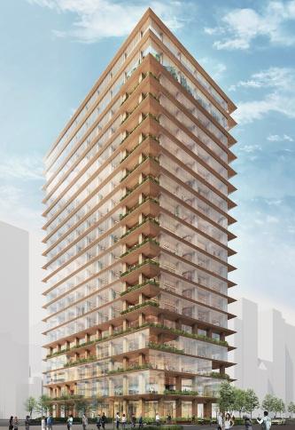 2025年の完成を目指す木質オフィスビルの完成予想パース。実現すれば日本初の木質超高層建築物となる。パースは現時点でのイメージ(資料:三井不動産)