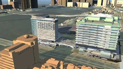 清水建設が建物OS「DX-Core」の実装を進めるスマートビル「メブクス豊洲」の完成イメージ(資料:清水建設)