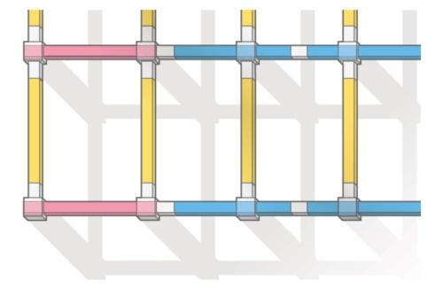 PCa梁を分割した例。色分けして示している(資料:長谷工コーポレーション)