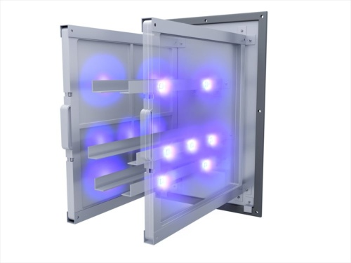 「新・UVクリーンユニット」内部のイメージ。光触媒フィルター面に向けて深紫外線を照射する(資料:三菱地所ホーム)