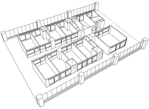 病院の病室と廊下、スタッフステーションの部分について意匠登録を受けた。登録された斜視図(資料:三菱地所設計)