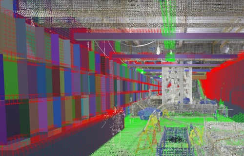BIMと点群データから生成した「出来形ビュー」。緑は施工完了、赤は未完了を表している(資料:鹿島)