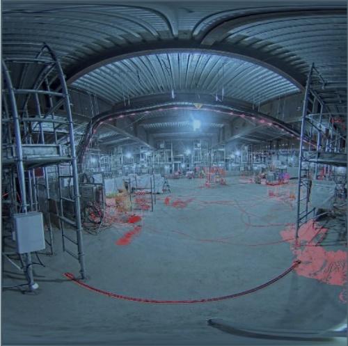 画像の差分から作業進捗を確認する。赤の部分が変化があった場所(資料:鹿島)