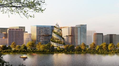 第2本社の建設計画は、巻き貝のような形状の「ヘリックス」と3つのオフィスビルから成る(資料:Amazon.com)