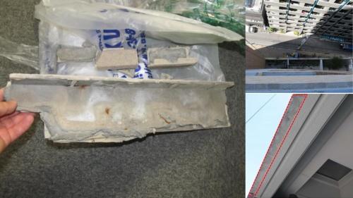 左は2015年10月、14階バルコニーから剥落した外壁タイルの一部。右上は14階バルコニーから通りを見下ろした様子。右下はコンクリートが露出した剥落箇所(写真:アパタワーズ神戸三宮管理組合)