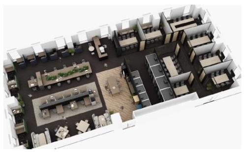PXDTのBCPソリューション「magickiri」を使い、空気の流れを可視化する。既に、八重洲ビルの地上2階にあるオフィスフロアを空気の可視化に基づいて改装中(資料:東京建物、ピクシーダストテクノロジーズ)
