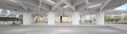 「(仮称)豊洲六丁目4-2・3街区プロジェクト」交通広場の完成イメージ。中央の4本の柱を、ラクツムを3Dプリントした型枠で施工した(資料:清水建設)