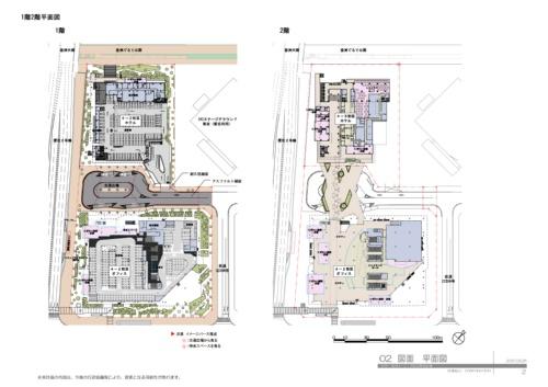 「(仮称)豊洲六丁目4-2・3街区プロジェクト」の1階平面図(左)と2階平面図(右)。交通広場の中央の柱に3Dプリンターで製造した型枠を使った。この柱から各建物側でブリッジを支える柱までのスパンは20mに及ぶ(資料:清水建設)