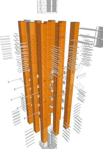 45cm角の束ね柱の概要。15cmの角材を束ね、ドリフトピンと貫通ボルトで一体化する。丸い皿のような部品が貫通ボルト付近の応力伝達効率を高めるスプリットリングだ(資料:シェルター)