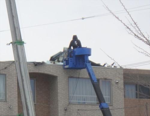 屋上から剥がれた断熱防水層。コンクリートの躯体に接着層、断熱材、改質アスファルトルーフィングを重ねる「屋根露出防水絶縁断熱工法」だとみられる。剥がれたのは躯体と断熱材の界面のようだ(写真:栃木 渡)