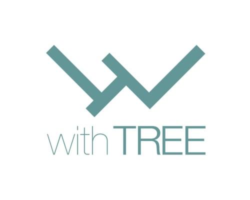 住友林業と熊谷組が立ち上げた中大規模木造ブランド「with TREE」のロゴ。withの頭文字である「w」を模した形だ。ロゴの中央部には、TREEの頭文字である「T」の形を傾けて組み込んだ(資料:住友林業、熊谷組)