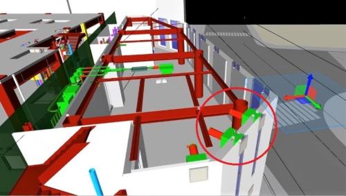 赤丸の部分は意匠と設備がバッティングしているので、不整合の修正が必要だと分かる。問題点を建築着工前に発見しやすい(資料:東急建設)