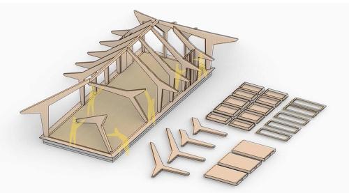 現場に搬入されたユニットをプラモデル感覚で組み立てる。1本柱と跳ね出しの梁を一体化した「ベッキーユ」は、出隅の部分とその他の部分の2種類を用いる。「等級のあまり高くないスギ材でも耐震性を確保できるように計画している」(秋吉代表)(資料:VUILD)