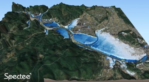 Specteeが開発したAIによる浸水範囲と浸水深の推定図(資料:Spectee)
