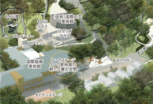 芹ヶ谷公園で進む再整備計画の概要。谷の底側に位置する既存美術館に加え、崖の上へ美術館を新設し、動線を一体化する。2つの建物はそれぞれの1階で25m程度の高低差があるため、エレベーターで結ぶ(資料:町田市)