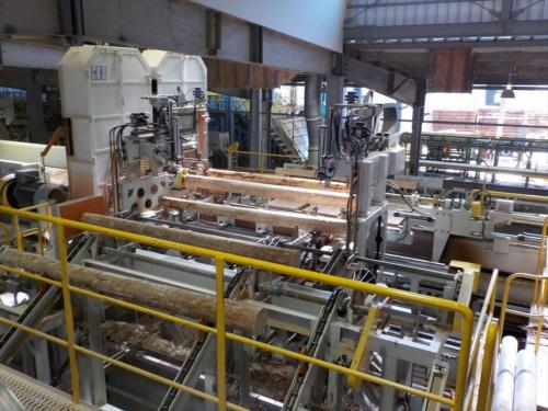 銘建工業の関連会社として、2012年に高知県大豊町に設立された高知おおとよ製材の工場内部。銘建工業ではこの工場などで生産したスギやヒノキのラミナを使って、6月から集成材の柱を生産している(写真:銘建工業)