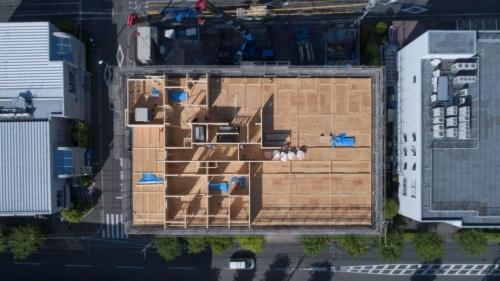 上空から見た建設現場の様子(写真:三井ホーム)