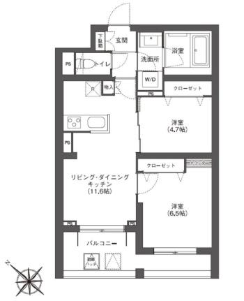 代表的な住戸の平面図。専有面積は約54m<sup>2</sup>(資料:三井ホーム)