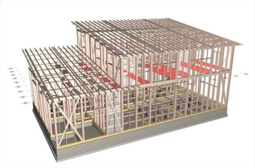 福登建設の清水栄一代表が、全ての梁をスギのJAS(日本農林規格)材で設計した住宅の構造パース。赤色の梁がスギ集成材、それ以外は製材(資料:福登建設)