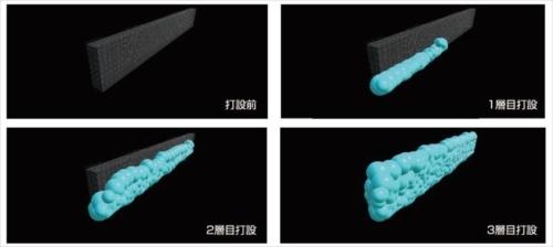 AIで解析したモニター映像のイメージ。適切に締め固められたと判定した箇所は、青色の球体で表示する(資料:清水建設)