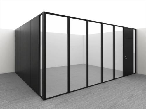 従来品のガラスパーティション。面外変形を抑える鋼製枠でガラス面が分割されている(写真:大林組)