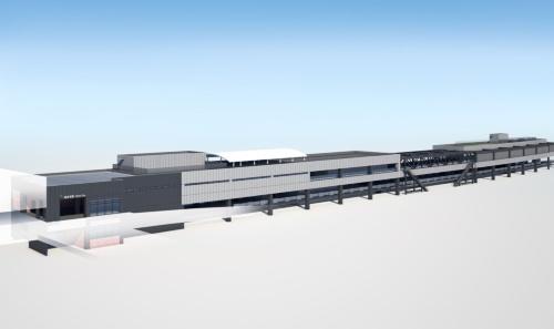 相鉄線海老名駅新駅舎の完成イメージ。新駅舎は3階建てで、改札口を増設して混雑緩和を図る。駅舎内には保育施設なども整備する計画で、2022年度に開業予定だった(資料:相模鉄道)