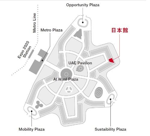 万博会場での日本館の位置(資料:2020年ドバイ国際博覧会日本館広報事務局)