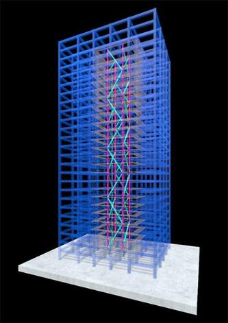 T-レトロフィット制振のイメージパース(資料:大成建設)