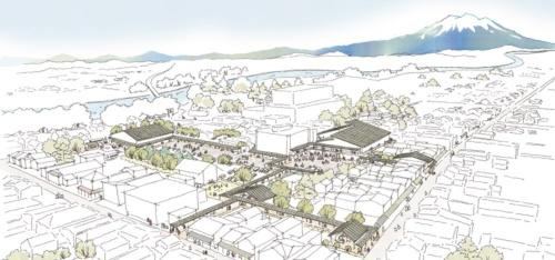 梓設計JVによるエリアリノベーションの全体イメージ(資料:黒石市)