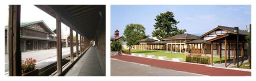 左:木製のアーケードが連なる、中町こみせ通り。右:1997年にオープンした横町かぐじ広場。商店街の「かぐじ」を利用してつくられた(写真:2点とも黒石市)