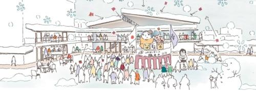 「かぐじスクエア」のイメージ。「回廊こみせ」は日常的な連絡通路として使用するだけでなく、イベント時には屋台や展示スペース、災害時には仮設テントとしての利用を考えている(資料:黒石市)