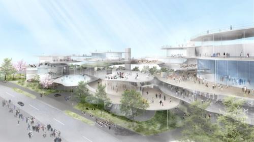 熊谷組JVが提案した新ホールのイメージ。花びらが舞うようにテラスを複数配置する。イベント時だけでなく、日常的な居場所として利用されるホールを目指した(資料:石上純也建築設計事務所)