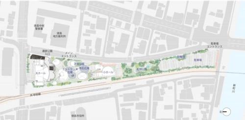 熊谷組JVが提案した新ホールの配置図(資料:熊谷組JV)