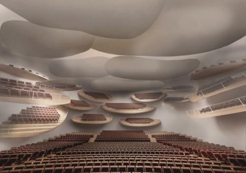 大ホールの内観イメージ。平面的には凹凸、断面的には高さの違いを生むことで、上質な音響をつくり出すという(資料:石上純也建築設計事務所)